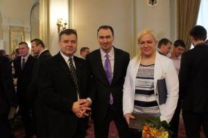 Tréner Dušan Dědeček, Miroslav Šatan a Ivana Krištofičová